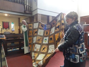 Quilt presentation to Tim 1